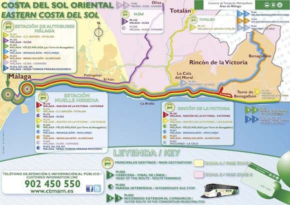 Horarios autobuses de Málaga a La Cala del Moral y Rincón de la Victoria